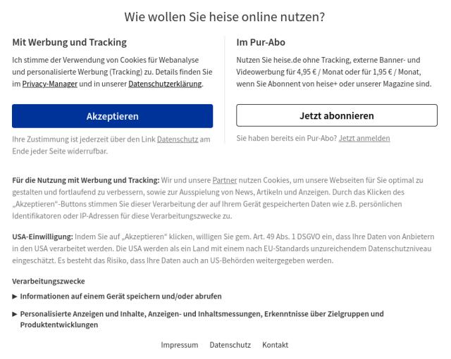 Einstellungsdialog zum Tracking von heise.de