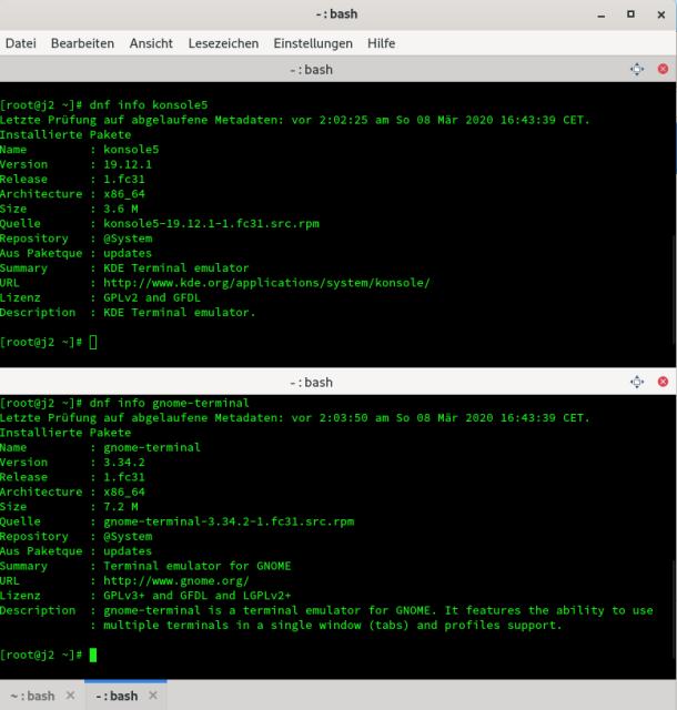 Screenshot: KDE-Konsole mit zwei Tabs im Split-Mode