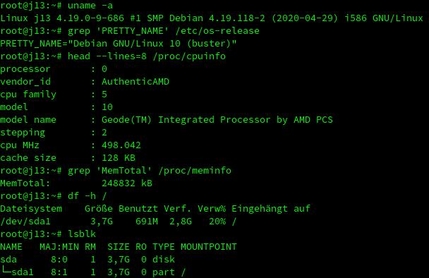 Output auf Linux-Konsole