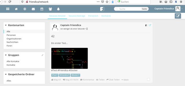 Screenshot erste Schritte mit Friendica