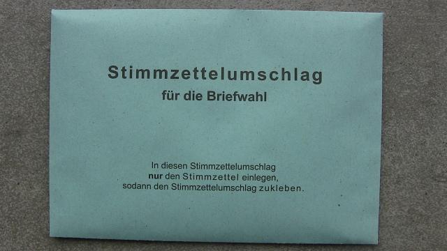 Umschlag Briefwahlunterlangen