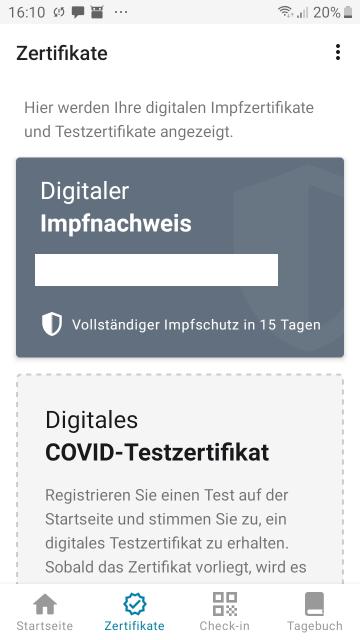 Screenshot Android: Impfzertifikat